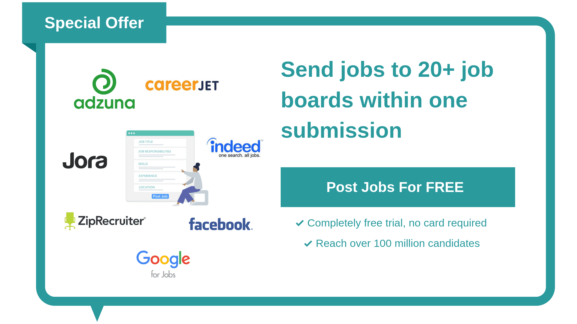 job board posting, indeed, zip recruiter, adzuna, jora, google for jobs, post a free job, free job posting, workable, breezy hr, bullhorn, taleo, recruitee, greenhouse